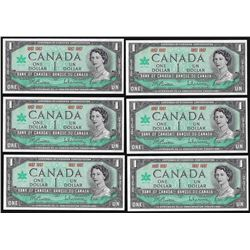 Lot of (6) 1967 $1 Bank of Canada Note Uncirculated