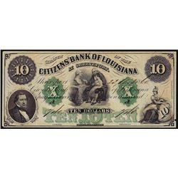 1860 $10 Citizens Bank of Louisiana Obsolete Bank Note