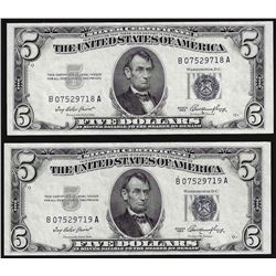 Lot of (2) Consecutive 1953 $5 Silver Certificate Notes Choice Uncirculated