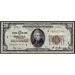 1929 $20 Federal Reserve Bank of Minneapolis National Currency Note