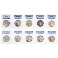 Lot of (10) Assorted $1 Morgan Silver Dollar Coins PCGS MS63