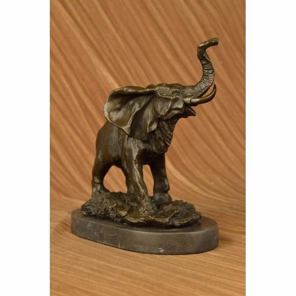 Laughing Elephant Symbol Of Luck Bronze Sculpture On Marble Base
