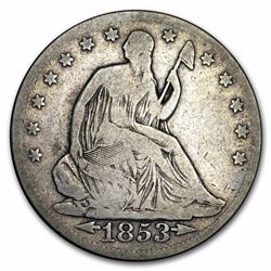 1853 $1 Seated Liberty Arrows and Rays Half Dollar Coin