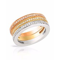 14KT Tri Color Gold 0.79ctw Diamond Rings