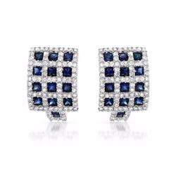 18KT White Gold 2.44ctw Blue Sapphire and Diamond Earrings