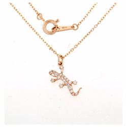 18KT Rose Gold 0.17ctw Diamond Pendant with Chain