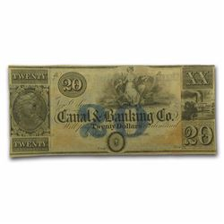 1800's $20 Canal and Banking Co Obsolete Bank Note