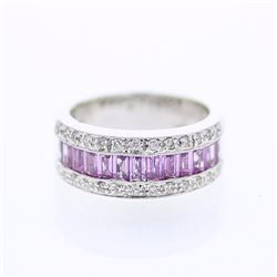 18KT White Gold 1.95ctw Pink Sapphire and Diamond Ring