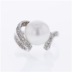 18KT White Gold 10.20ct Pearl and Diamond Ring