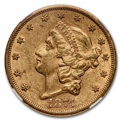 1874-S $20 Liberty Head Double Eagle Gold Coin NGC AU55