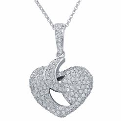 14KT White Gold 1.31ctw Diamond Pendant with Chain