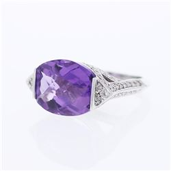 18KT White Gold 10.83ctw Amethyst and Diamond Ring