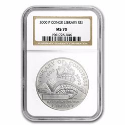 2000-P $1 Library of Congress Commemoritve Silver Coin NGC MS70