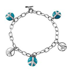 14KT White Gold 2.73ctw Turquoise and Diamond Bracelet