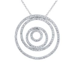 14KT White Gold 1.36ctw Diamond Pendant with Chain
