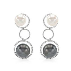 18KT White Gold 41.73ctw Tahitian Pearl and Diamond Earrings
