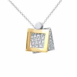 14KT Two Tone Gold 0.36ctw Diamond Pendant with Chain