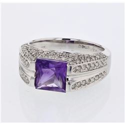 18KT White Gold 1.84ct Amethyst and Diamond Ring
