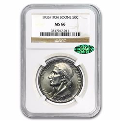1935/1934 Boone Commemorative Half Dollar Coin NGC MS66 CAC