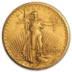 1907 $20 Saint Gaudens Double Eagle Gold Coin Cleaned
