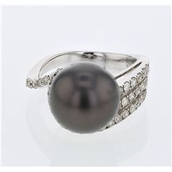 14KT White Gold 13.71ct Tahitian Pearl and Diamond Ring