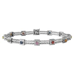 14KT White Gold 1.37ctw Multi Color Sapphire and Diamond Bracelet