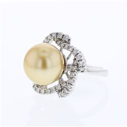 18KT White Gold 13.50ct Pearl and Diamond Ring