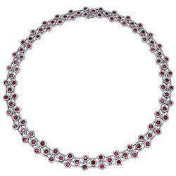 14KT White Gold 15.06ctw Ruby and Diamond Necklace