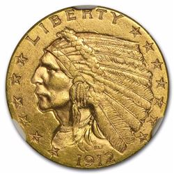 1912 $2 1/2 Indian Head Quarter Eagle Gold Coin NGC MS62