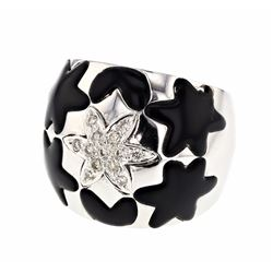 18KT White Gold 3.18ctw Black Onyx and Diamond Ring