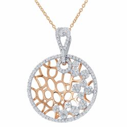 14KT Two Tone Gold 0.62ctw Diamonds Pendant with Chain