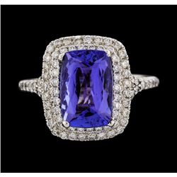 14KT White Gold 3.43ct Tanzanite and Diamond Ring