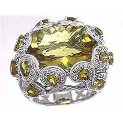 18KT White Gold 15.69ctw Citrine and Diamond Ring