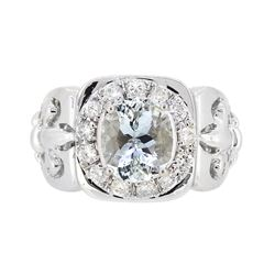 14KT White Gold 2.63ct Aquamarine and Diamond Ring