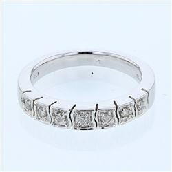 14KT White Gold 0.19ctw Diamond Wedding Band