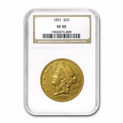 1851 $20 Liberty Head Double Eagle Gold Coin NGC VF35