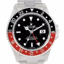 Rolex Stainless Steel GMT II Black and Red Coke Mens Wristwatch