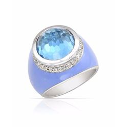 14KT White Gold 12.27ct Blue Topaz and Diamond Ring