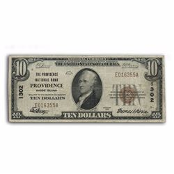 1929 $10 Providence Type 1 National Currency Note