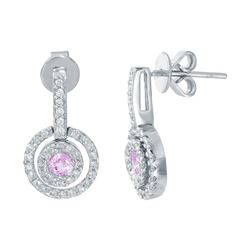 14KT White Gold 0.41ctw Pink Sapphire and Diamond Earrings