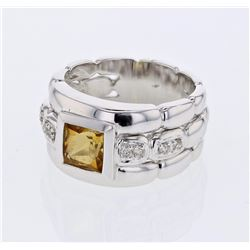 14KT White Gold 1.14ct Citrine and Diamond Ring