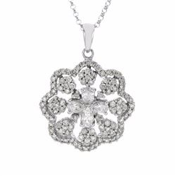 14KT White Gold 1.48ctw Diamond Pendant with Chain