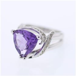 14KT White Gold 4.67ct Amethyst and Diamond Ring
