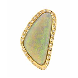 14KT Yellow Gold 12.70ct Opal and Diamond Ring