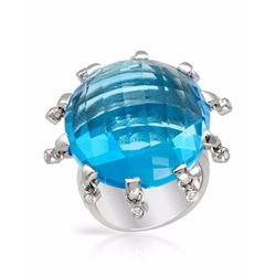 14KT White Gold 46.74ct Blue Topaz and Diamond Ring