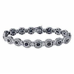 14KT White Gold 4.64ctw Blue Sapphire and Diamond Bracelet