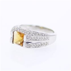 18KT White Gold 1.39ct Citrine and Diamond Ring