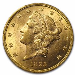 1893 $20 Liberty Head Double Eagle Gold Coin PCGS MS61