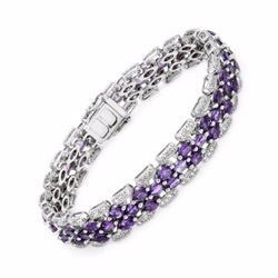 14KT White Gold 8.96ctw Amethyst and Diamond Bracelet