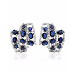 18KT White Gold 6.38ctw Blue Sapphire and Diamond Earrings